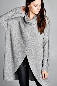 womens tunic sweaters stassi cowl neck tunic top in gray mod soul fashion
