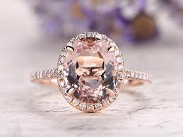 oval wedding rings oval cut pink morganite engagement ring solid 14k gold