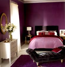 purple wall paint colors of home bedroom design with red bedlinen