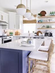 white kitchen cabinets with blue island all the details on our kitchen remodel with costs and