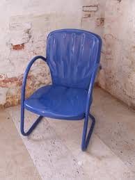 Old Fashioned Metal Outdoor Chairs by Royal Blue Vintage Metal Shell Back Lawn Chair Outdoor Chair Nib