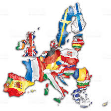 European Countries Map European Union Map With Flags Of All Countries Stock Vector Art