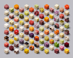 cubes of fruits vegetables and meats will make you see food in a