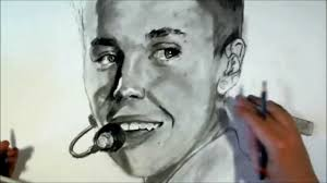 like real justin bieber drawing portrait sketch with pencil