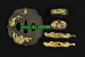 theme japanese samurai katana sword brass fittings tsuba