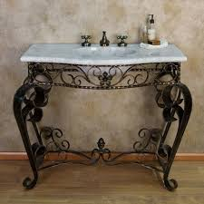 Recessed Bathroom Vanity by Scrolled Wrought Iron Console Vanity With Recessed Carrara Marble