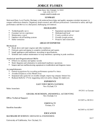 best entry level mechanic maintenance janitorial resume example