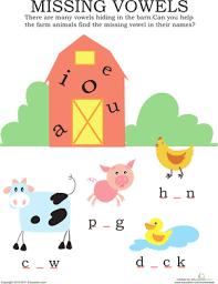 missing vowels farm animals worksheet education com