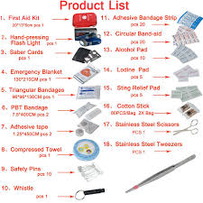Household Essentials List Amazon Com First Aid Kit 163 Piece Waterproof Portable