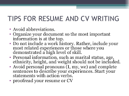 not to include in resume seminar on cv preperation