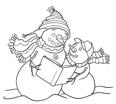 download coloring pages free winter printable snowman kid 123