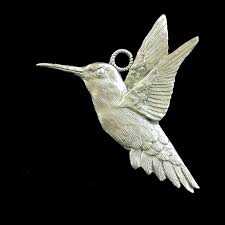 hummingbird pewter ornament schumann sculpture metal