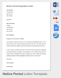 Samples Of Cover Letters For Resume by 26 Notice Period Letter Templates Free Sample Example Format