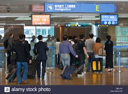 immigration counters at icn incheon airport in seoul south korea