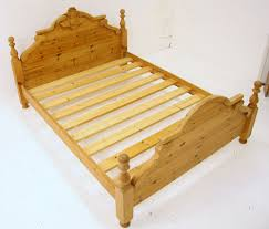 Pine King Headboard by King Size Bed Solid Pine Carved Thistle On Headboard Ebay
