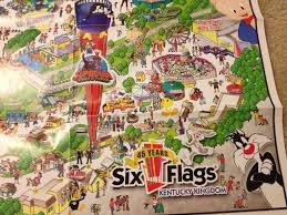 6 Flags Map Auctioning Off Four Vintage Six Flags Wall Maps Theme Park Review