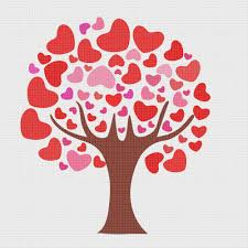 valentine day love tree of hearts sew so simple counted cross