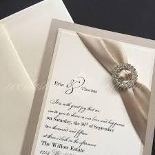 elegant double rhinestone circle wedding invitation modern