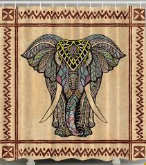 elephant shower curtain asian tusks digital art print bathroom