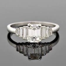 art deco platinum emerald cut diamond
