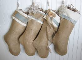 shabby chic burlap christmas stocking in blue with ruffles and