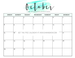 free printable october 2017 calendar 12 awesome designs