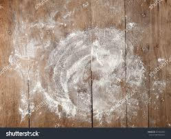 Wooden Table White Flour On Rustic Wooden Table Stock Photo 521824987