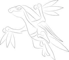 grovyle pokemon coloring page free printable coloring pages