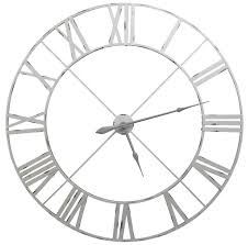 Designer Wall Clock Extra Large Distressed Pale Grey Contemporary Skeleton Metal Wall