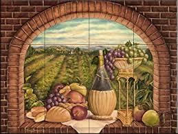 Ceramic Tile Mural Tuscan Wine II By Rita Broughton Kitchen - Backsplash mural