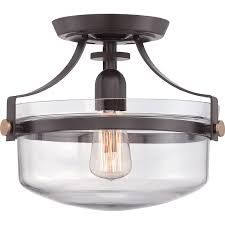 Flush Mount Kitchen Lighting Fixtures by Quoizel Uptown Penn Station Western Bronze Semi Flushmount Semi