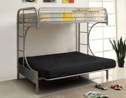 Bunk Bed With Futon Couch Furniture Of America Cm Bk1034sv Rainbow Silver Metal Twin Over