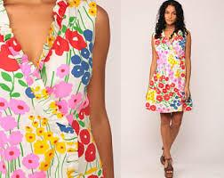 butterfly dress floral shift 60s mod mini green print hippie