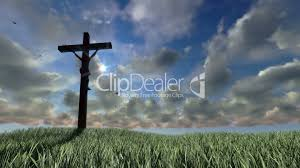 jesus on cross meadow and timelapse sunset royalty free video