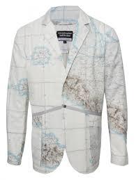 World Map Jacket by Christopher Raeburn Military Map Print Blazer In Gray For Men Lyst