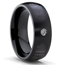 black titanium rings oliveti black titanium men s cubic zirconia marble wood inlay dome