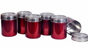 canisters kitchen set of 6 maroon color kitchen storage canisters with see thr rasoi