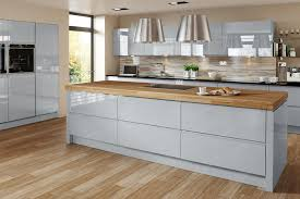 handleless kitchen cabinets gloss blue cabinets wood worktop kitchen google search kitchen