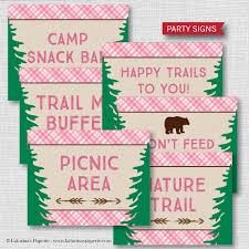 themed signs printable girl cing party signs girl cing themed