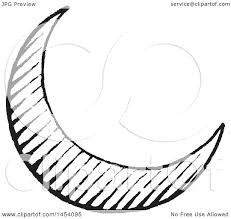 clipart of a black and white sketched crescent moon royalty free