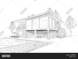 vector sketch modern house vector u0026 photo bigstock