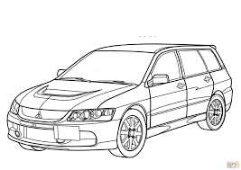 mitsubishi lancer evolution coloring page pages sketch template