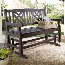 porch swing glider teak wood bench outdoor wide 4ft seating yard