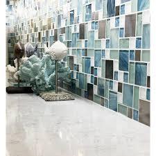 tst glass metal tile blue sky cloud white kitchen bath backsplash