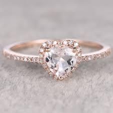 Heart Shaped Wedding Rings by Morganite Engagement Ring Heart Shaped Wedding Ring 14k Rose Gold