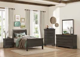 homelegance mayville sleigh bedroom set stained grey b2147sg 1