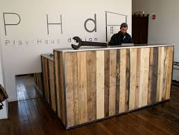 Pallet Of Laminate Flooring Reclaimed Pallet Wood Desk With A Steel Top And Steel Frame