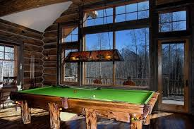 rustic billiards log pool tables