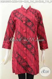desain baju batik untuk acara resmi dress batik monokrom desain kerah shanghai busana batik kerja