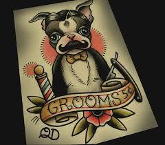 terrier tattoo 8x10 tattoo print boston terrier barber